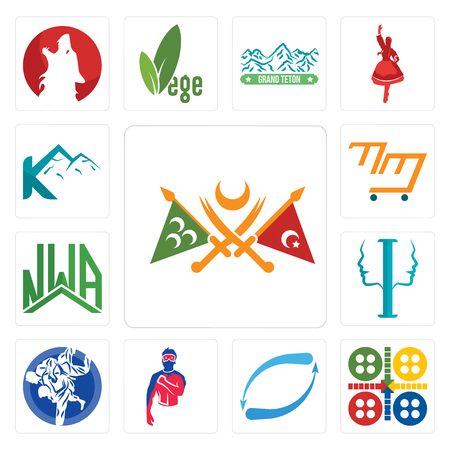 Set Of 13 simple editable icons such as ottoman empire, ludo, retweet, generic superhero, jiu jitsu, psycology, nwa, mini mart, k mountain can be used for mobile, web UI