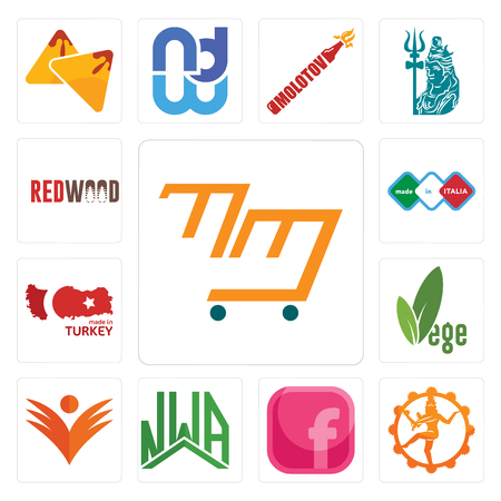 Set Of 13 simple editable icons such as mini mart, nataraj, pink fb, nwa, ganpati, vege, made in turkey, italia, wood can be used for mobile, web UI Illustration