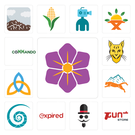 Set Of 13 simple editable icons such as saffron, gun store, mister, expi, nautilus shell, mountain lion, holy trinity, bobcat, commando can be used for mobile, web UI