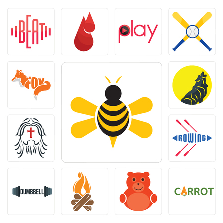 Set Of 13 simple editable icons such as honey bee, carrot, cute bear, bonfire, dumbbell, rowing, , can be used for mobile, web UI