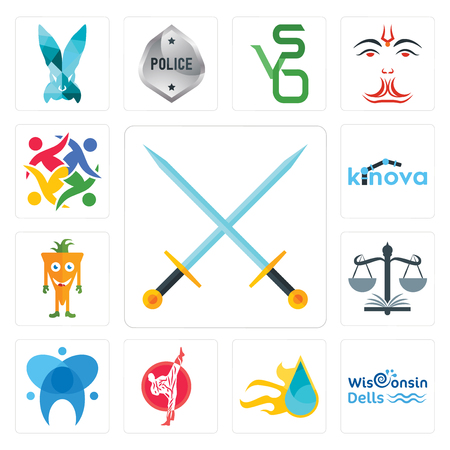 Set Of 13 simple editable icons