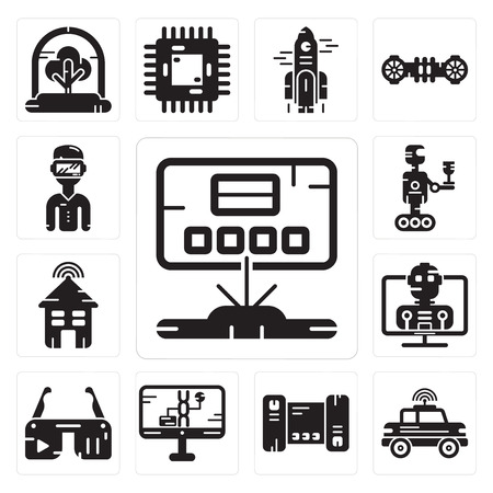 Set Of 13 simple editable icons such as Hologram, Car, Smartphone, Dna structure, Ar glasses, Robot, Smart house, Oculus rift can be used for mobile, web UI