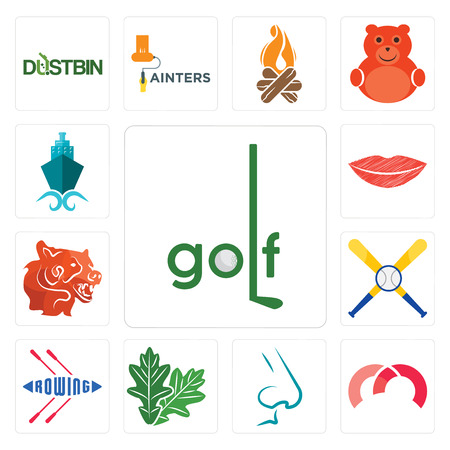 Set Of 13 simple editable icons such as golf, m, nose, oak leaf, rowing, baseball team, bear head, lip, shipping company can be used for mobile, web UI Vectores