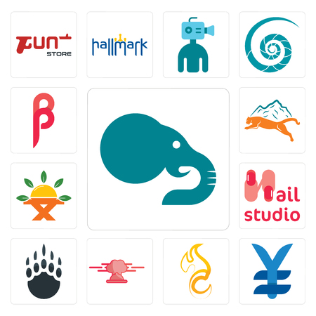 Set Of 13 simple editable icons such as elephant, japan currency, c fire, catering, grizzly claw, nail studio, farm to table, mountain lion, can be used for mobile, web UI Illustration