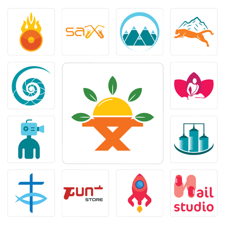 Set Of 13 simple editable icons such as farm to table, nail studio, rocketship, gun store, christian fish, silo, cameraman, massage therapist, nautilus shell can be used for mobile, web UI