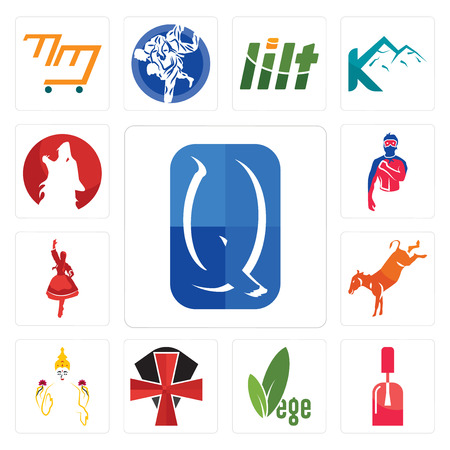 Set Of 13 simple editable icons such as quintessentially, nail tech, vege, knights templar, laxmi, kicking mule, polish dancer, generic superhero, kurt can be used for mobile, web UI Çizim