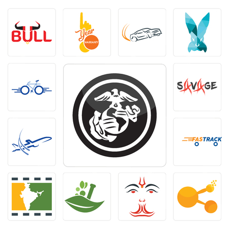 Set Of 13 simple editable icons such as usmc, bitconnect, anjaneya, ayurvedic, bollywood, fastrack, dreamliner, savage, bike can be used for mobile, web UI