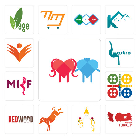 Set Of 13 simple editable icons such as soulmate, made in turkey, laxmi, kicking mule, wood, ludo, milf, gastro, ganpati can be used for mobile, web UI Illustration