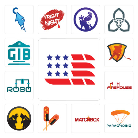 Set Of 13 simple editable icons such as american flag, paragliding, matchbox, corn dog, pack wolf, firehouse, robo, power play hockey, generic bank can be used for mobile, web UI
