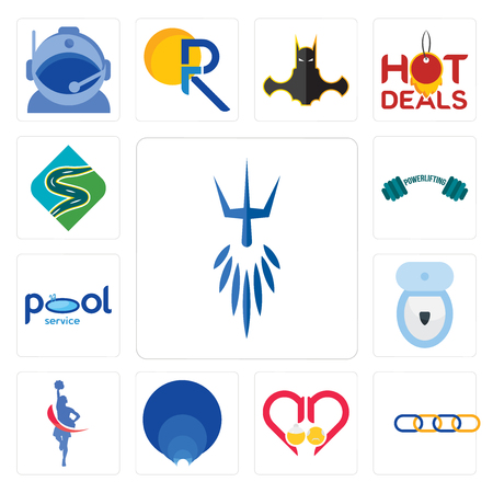 Set Of 13 simple editable icons such as poseidon, supply chain, senior care, golden ratio, cheerleader, toilet bowl, pool service, powerlifting, winding road can be used for mobile, web UI