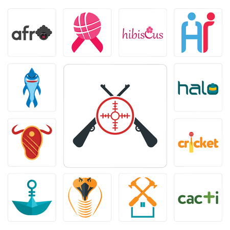 Set Of 13 simple editable icons such as shooters, cacti, property maintenance, snake head, paper boat, cricket, steak house, halo, shark mascot can be used for mobile, web UI Standard-Bild - 102498441