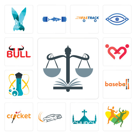 Set Of 13 simple editable icons such as naacp, , church, drift, cricket, baseball, science, friendship, bull can be used for mobile, web UI Illustration