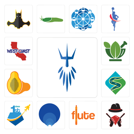 Set Of 13 simple editable icons such as poseidon, outlaws, flute, golden ratio, , winding road, papaya, ayurvedic, west coast can be used for mobile, web UI
