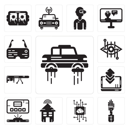 Set Of 13 simple editable icons such as Flying car, Mechanical arm, Artificial intelligence, Smart house, Hologram, Smartphone, Goggle glasses, Bionic contact lens can be used for mobile, web UI Vector Illustration