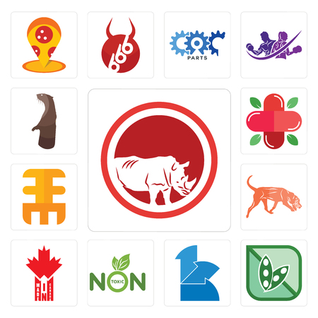 Set Of 13 simple editable icons such as save the rhino, soy free, 111, non toxic, made in canada, bloodhound, eee, farmacy, otter can be used for mobile, web UI
