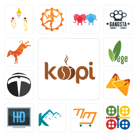 Set Of 13 simple editable icons such as, ludo, mini mart, k mountain, hi def, samosa, tesla, vege, kicking mule can be used for mobile, web UI