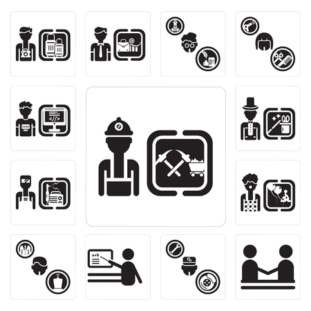 Set Of 13 simple editable icons such as Miner, human resources, Mechanic, Teacher, Politician, Clown, Welder, Magician, Programmer can be used for mobile, web UI