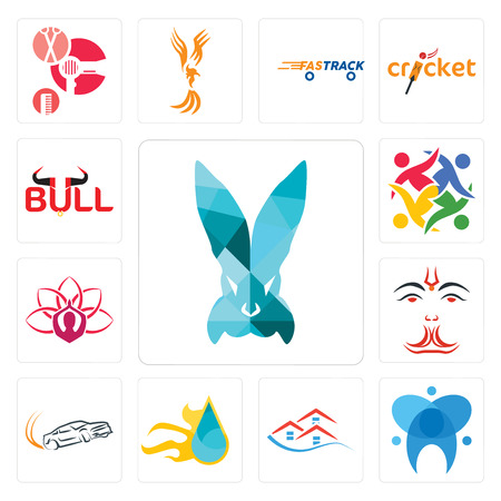 Set Of 13 simple editable icons such as deceit, dental, emlak, liquid nitro, drift, anjaneya, lotus, unity, bull can be used for mobile, web UI