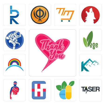 Set Of 13 simple editable icons such as thank you, taser, homoeopathy, generic hospital, superhero, k mountain, rainbow, vege, jiu jitsu can be used for mobile, web UI