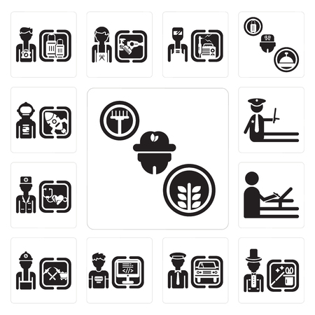 Set Of 13 simple editable icons such as Farmer, Magician, Chauffeur, Programmer, Miner, De, Doctor, Police, Spaceman can be used for mobile, web UI