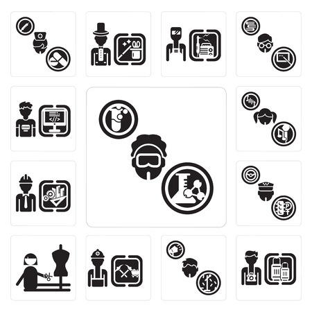 Set Of 13 simple editable icons such as Chemist, Tourist, Showman, Miner, Dressmaker, Taxi driver, Engineer, Singer, Programmer can be used for mobile, web UI Banque d'images - 107091948