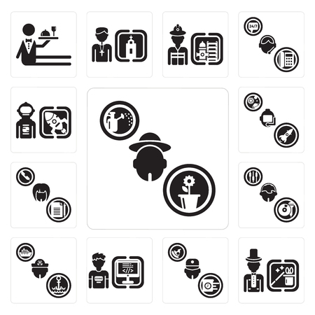 Set Of 13 simple editable icons such as Gardener, Magician, Courier, Programmer, Sailor, DJ, Secretary, Astronaut, Spaceman can be used for mobile, web UI