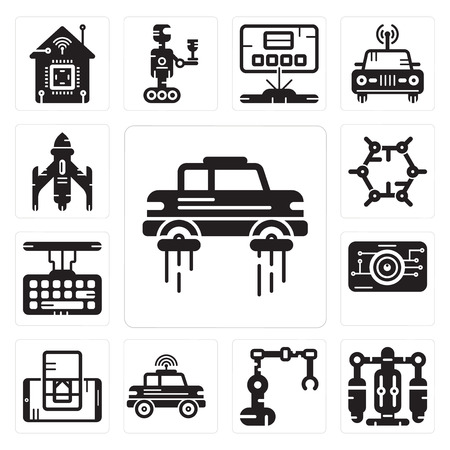 Set Of 13 simple editable icons such as Flying car, Jet pack, Industrial robot, Car, Smartphone, Eye scan, Keyboard, Graphene, Rocket can be used for mobile, web UI