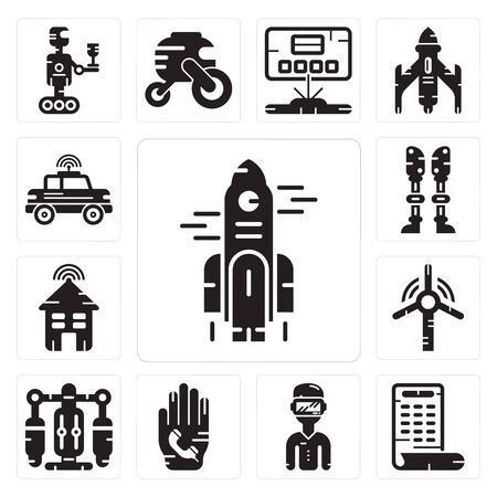 Set Of 13 simple editable icons such as Rocket, Smartphone, Phone call, Jet pack, Windmill, Smart house, Prosthesis, Car can be used for mobile, web UI