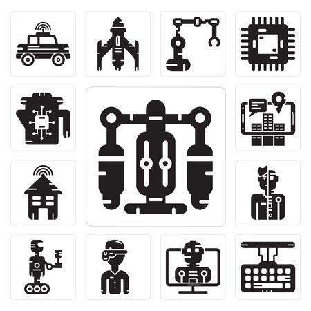 Set Of 13 simple editable icons such as Jet pack, Keyboard, Robot, Augmented reality, Humanoid, Smart house, Kettle can be used for mobile, web UI Ilustração