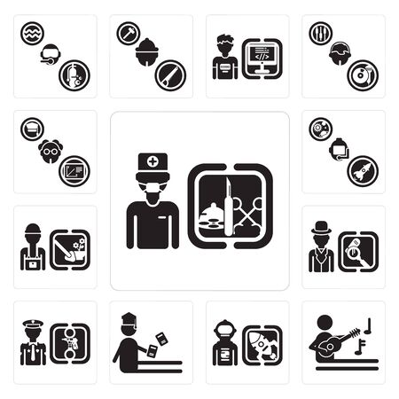 Set Of 13 simple editable icons such as Surgeon, Musician, Spaceman, Student, Policeman, Detective, Gardener, Astronaut, Professor can be used for mobile, web UI