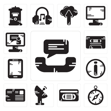 Set Of 13 simple editable icons such as Phone call, Compass, Vhs, Satellite dish, Letter, Info, Tablet, Cassette, Video call can be used for mobile, web UI Illustration