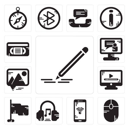 Set Of 13 simple editable icons such as Pencil, Mouse, Smartphone, Headphones, Flag, Video player, Picture, call, Vhs can be used for mobile, web UI Çizim