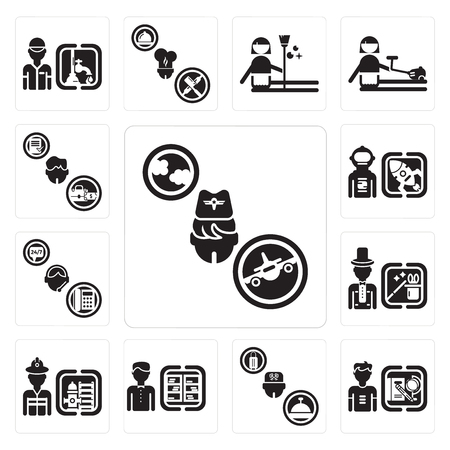 Set Of 13 simple editable icons such as Stewardess, Student, Concierge, Librarian, Firefighter, Magician, Support, Spaceman, Manager can be used for mobile, web UI Vettoriali