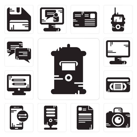 Set Of 13 simple editable icons such as Mailbox, Photo camera, File, Server, Smartphone, Vhs, Monitor, Display, Chat can be used for mobile, web UI