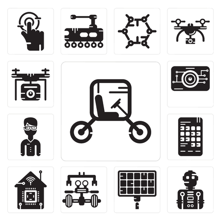 Set Of 13 simple editable icons such as Vehicle, Robot, Solar panel, Smart home, Smartphone,  glasses, Eye scan, Drone can be used for mobile, web UI