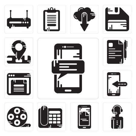 Set Of 13 simple editable icons such as Smartphone, News reporter, Telephone, Film reel, Browser, File, Location can be used for mobile, web UI