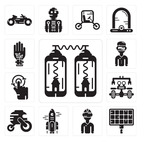 Set Of 13 simple editable icons such as Teleportation, Solar panel, Vr glasses, Rocket, Vehicle, Robot, Tap, rift, Wi gloves can be used for mobile, web UI