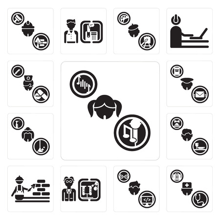 Set Of 13 simple editable icons such as Singer, Doctor, Programmer, Scientist, Construction worker, Waiter, Maid, Postman, Nurse can be used for mobile, web UI