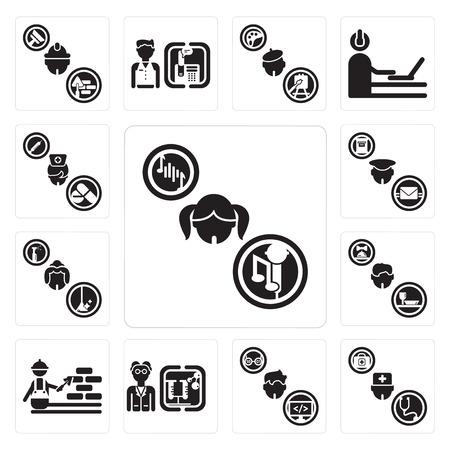 歌手、医師、プログラマー、科学者、建設労働者、ウェイター、メイド、郵便配達人、看護師などの13の簡単な編集可能なアイコンのセットは、モバイル、ウェブUIに使用することができます