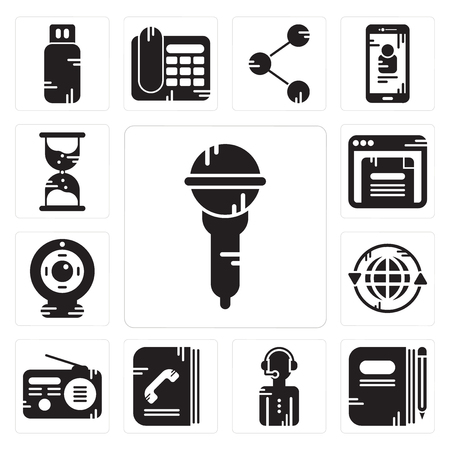 Set Of 13 simple editable icons such as Microphone, Book, News reporter, Phone book, Radio, Earth grid, Webcam, Browser, Hourglass can be used for mobile, web UI 일러스트