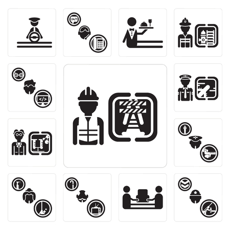 Set Of 13 simple editable icons such as Worker, Soldier, mover, Pensioner, Maid, Pilot, Scientist, Programmer can be used for mobile, web UI Illustration