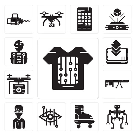 Set Of 13 simple editable icons such as Smart clothing, Robot, Boots, Bionic contact lens, glasses, Drone, Smartphone, Robot can be used for mobile, web UI