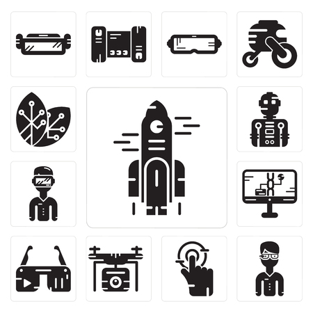 Set Of 13 simple editable icons such as Rocket, Glasses, Tap, Drone, Ar Dna structure,   Robot, Renewable energy can be used for mobile, web UI