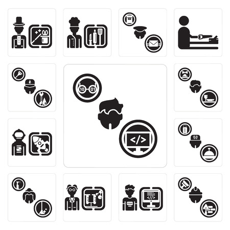 Set Of 13 simple editable icons such as Programmer, Builder, Scientist, Maid, Concierge, Spaceman, Waiter, Plumber can be used for mobile, web UI Banque d'images - 102406911
