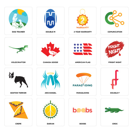 Set Of 16 simple editable icons such as croc, boobs, durian, crepe, double f, dog trainer, velociraptor, boston terrier, american flag can be used for mobile, web UI Illustration