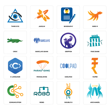 Set Of 16 simple editable icons such as archangel, double o, robo, comunication, rupee, third eye, croc, c language, griffon can be used for mobile, web UI