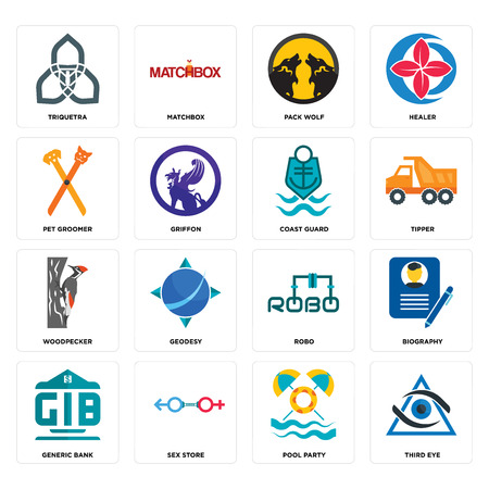 Set Of 16 simple editable icons such as third eye, pool party, sex store, generic bank, biography, triquetra, pet groomer, woodpecker, coast guard can be used for mobile, web UI