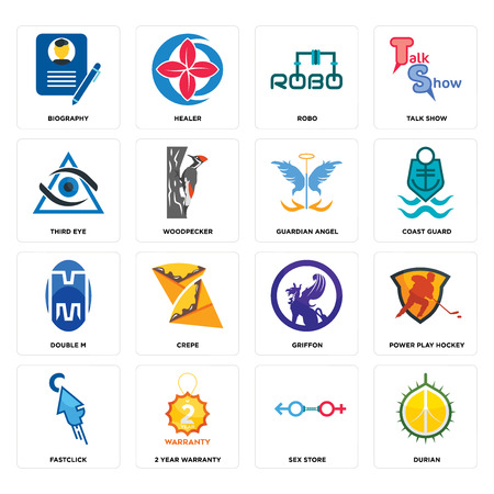 Set Of 16 simple editable icons such as durian, sex store, 2 year warranty, fastclick, power play hockey, biography, third eye, double m, guardian angel can be used for mobile, web UI Illustration