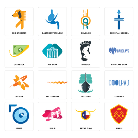 Set Of 16 simple editable icons such as man u, texas flag, pinup, lense, coolpad, dog groomer, cashback, javelin, bigfoot can be used for mobile, web UI