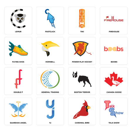 Set Of 16 simple editable icons such as talk show, cardinal bird, yj, guardian angel, canada goose, lemur, flying shoe, double f, power play hockey can be used for mobile, web UI